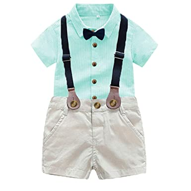 4722d7deb Gentleman Outfits Boys,2PC Toddler Baby Boy Bowtie Gentleman Stripe Shirt  Pants Wedding Suit Cloth