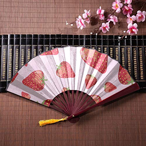 GIRLOS Hand Fan Women Strawberries Perfect for Wallpapers with Bamboo Frame Tassel Pendant and Cloth Bag Large Chinese Fans for Women Hand Fan Bamboo Chinese Folding Fan