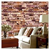 HaokHome 91304 Modern Faux Brick Stone Textured Wallpaper Roll Red Multi 3D Brick Blocks Home Room Decoration 20.8'' x 393.7''