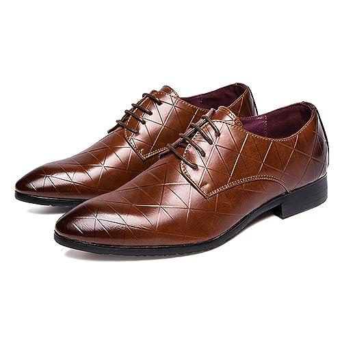 HILOTU Zapatos Oxford de los Hombres Zapatos de Fiesta Estilo Casual Zapatos Cuadrados personales Color Retro Zapatos de Vestir de Negocios Formales: ...