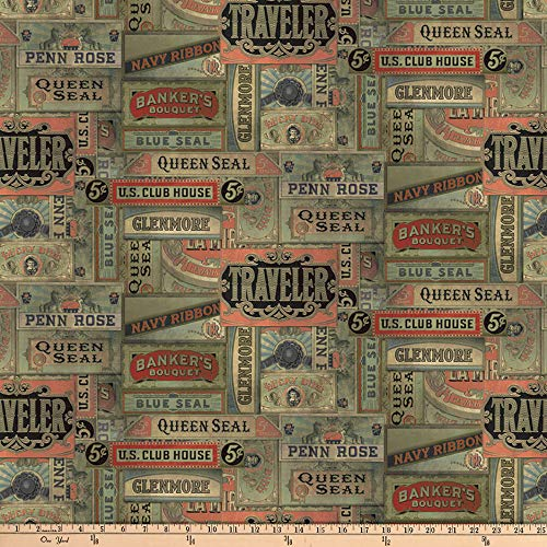 - FreeSpirit Fabrics Tim Holtz Eclectic Elements Cigarbox Multi Fabric by The Yard, Multicolor