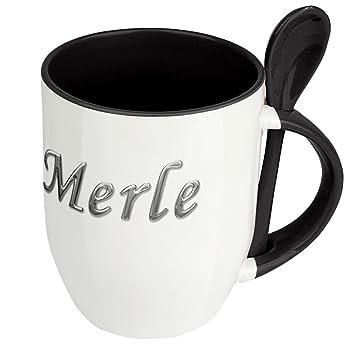 Tasse mit Namen Merle Chrom-Schriftzug