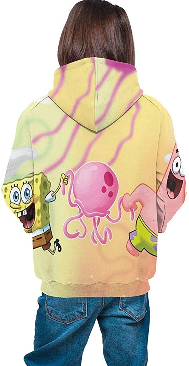 Meethee Felpa da Bambino con Cappuccio Spongebob Squarepants Teen Long Sleeve Hooded Sweatshirt for Boys And Girls