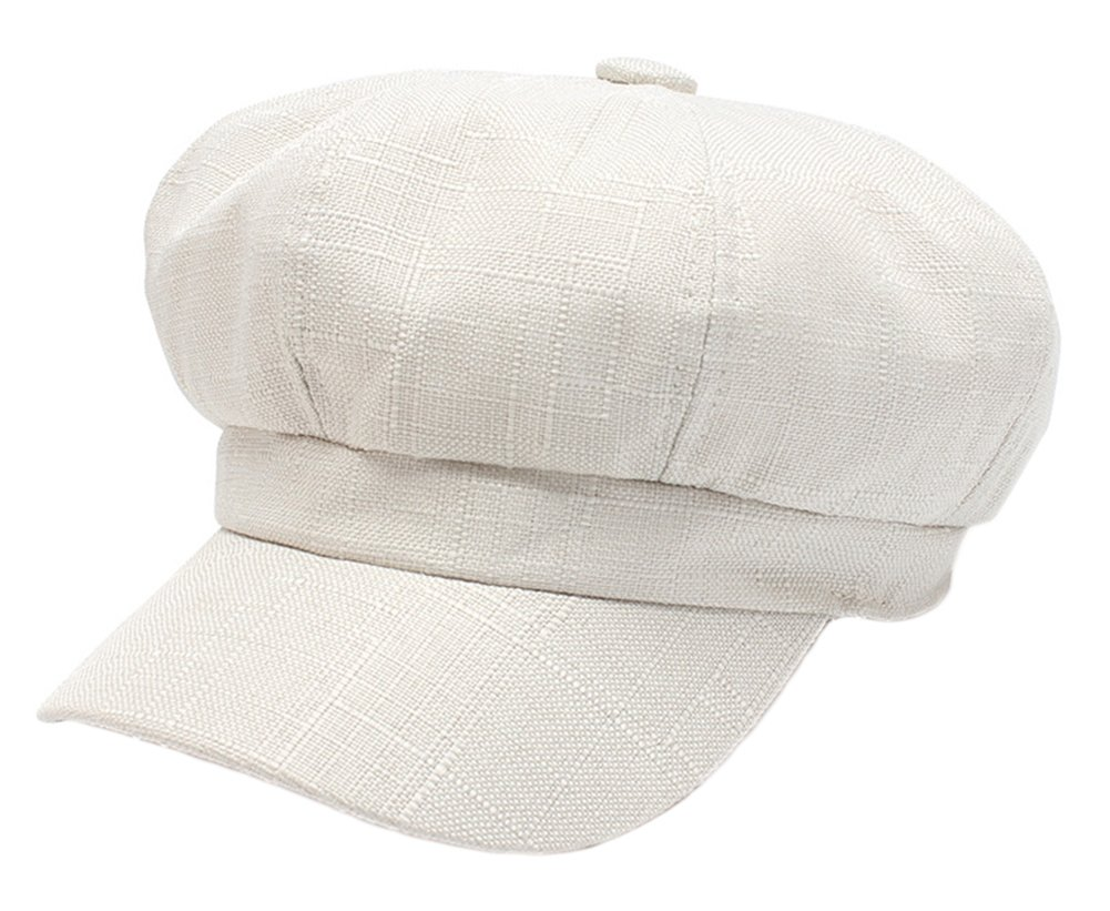 Elezay Unisex Retro Classic Gatsby Cap Cotton Linen newsboy Cabbie Hat HAT2062S-Beige