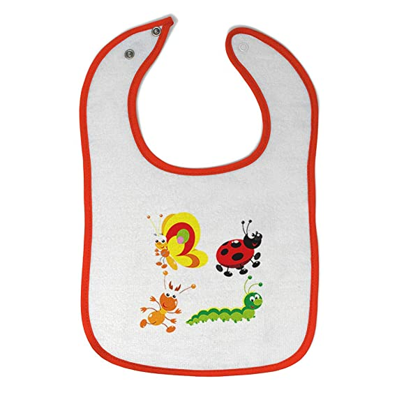 2-pack toddler bibs with food catcher pocket 100/% Cotton flannel ladybugs Snap close