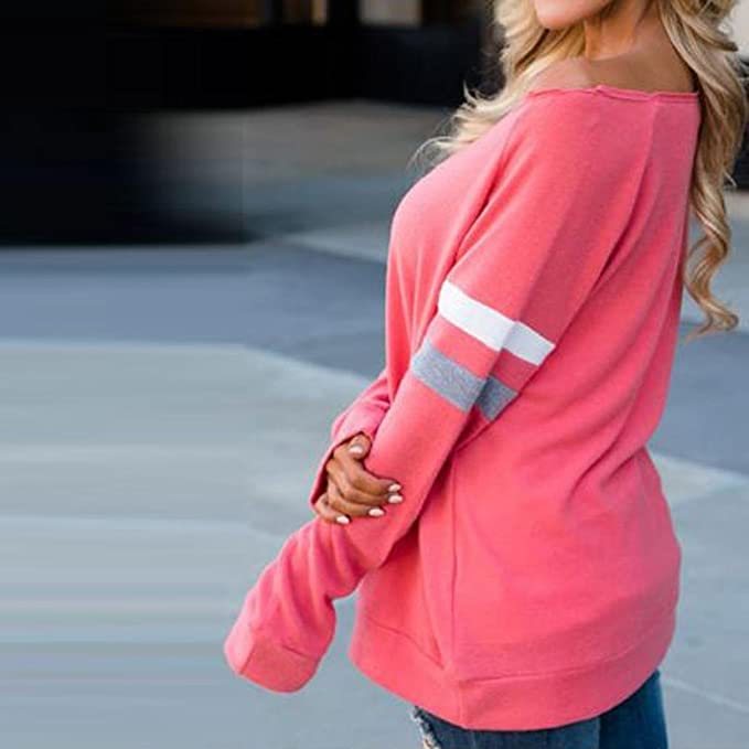 Mujer blusa Otoño talla grande suave casual moda ropa de calle,Sonnena Moda Blusa para mujer manga larga empalme blusa Sexy Tops ropa camiseta blusa: ...