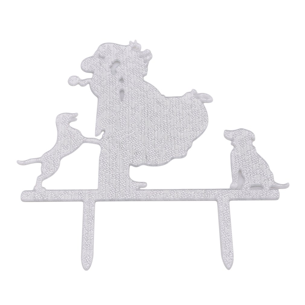 Dolland Wedding Cake Topper-Love Her Love Her Dogs Silhouette Wedding Engagement Cake Decoration Topper,Silver