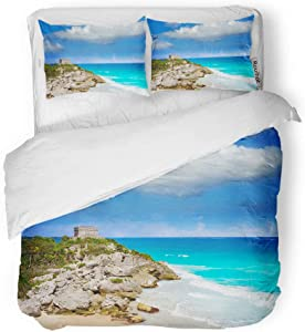 rouihot Duvet Cover Set King Size Tulum Mayan City Ruins in Riviera Maya at The 3 Piece Microfiber Fabric Decor Bedding Sets for Bedroom