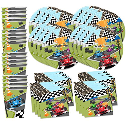 Race Car Racing Birthday Party Supplies Set Plates Napkins Cups Tableware Kit for 16