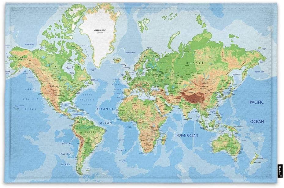 Amazon Com Moslion Map Doormat Geography World Map Ocean Mountain America Europe Asia Africa Indoor Door Mat For Entrance Way Inside Bedroom Kitchen Non Slip Mat 15 7x23 6 Inch Blue Green Garden