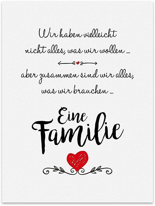Kunstdruck Poster Mit Spruch Eine Familie Typografie Bild Auf Hochwertigem Karton Plakat Druck Print Wandbild