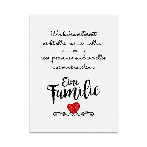 kunstdruck poster mit spruch – eine familie typografie bild auf