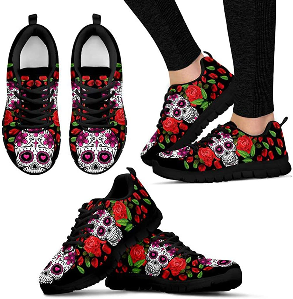 Footwear by CasseyDesi Skull Rose Themed Womens Sneakers Gothic Running Shoes Goth Gift Idea Bk