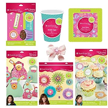 7 Item Bundle Kids American Girl Party Supplies Set For 12