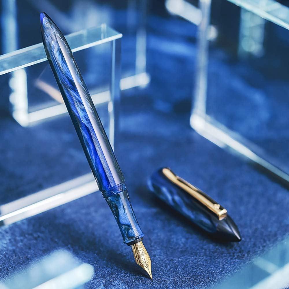 Germany Schmidt Fine Nib Classic Design Gift Box Pen Set LIY Galaxy Blue Celluloid Fountain Pen Handmade
