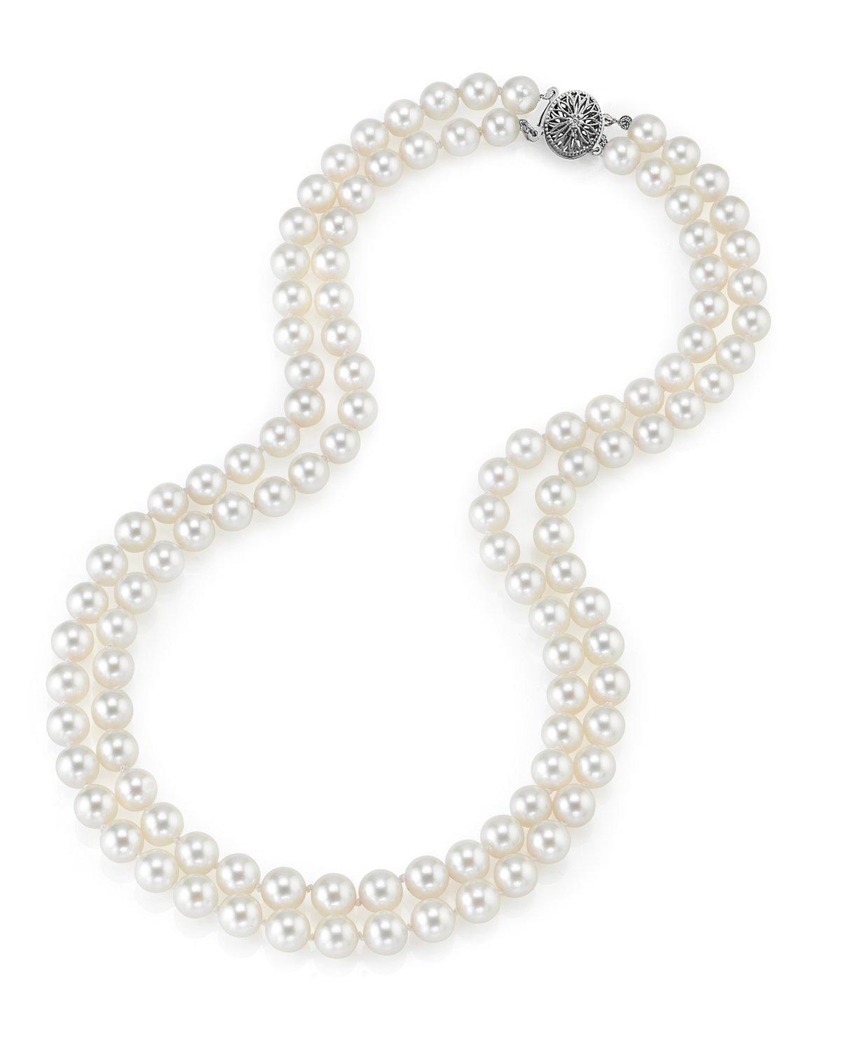 14K Gold Japanese Akoya White Cultured Pearl Double Strand Necklace - AAA Quality, 18-19'' Necklace Length