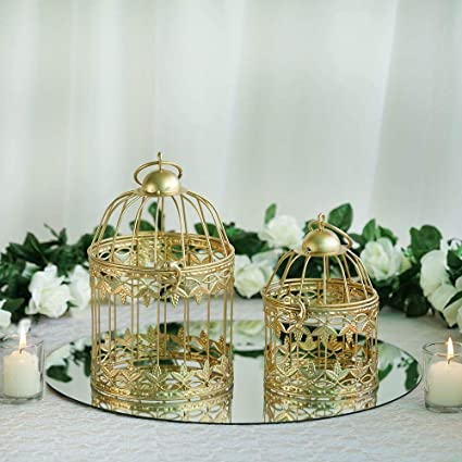 Amazon Com Efavormart 2 Sets Of Small Metallic Gold Bird Cage