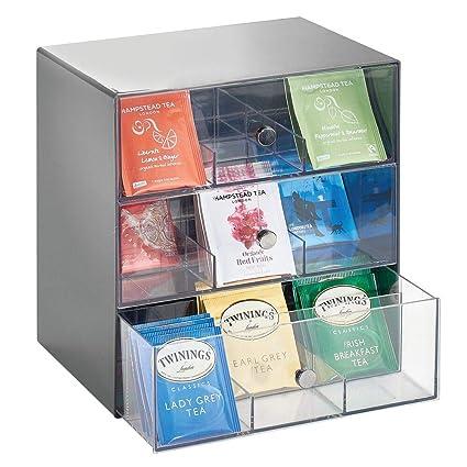 mDesign Organizador de cocina para bolsas de té, cápsulas de café, azúcar, etc. – Compacto organizador con cajones de plástico con 27 apartados – Mini ...