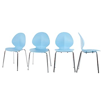 Merax Molded Plastic Side Chairs Stackable Dining Chairs With Metal Legs,  Set Of 4 (
