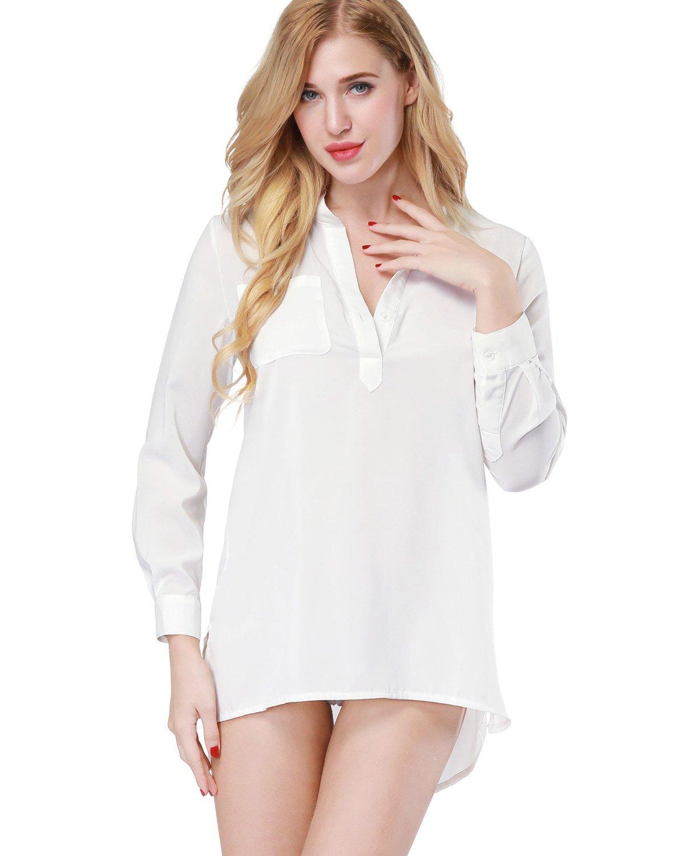 ETAOLINE Womens Chiffon White Shirt Lingerie Sheer Blouse Tops Sleepwear