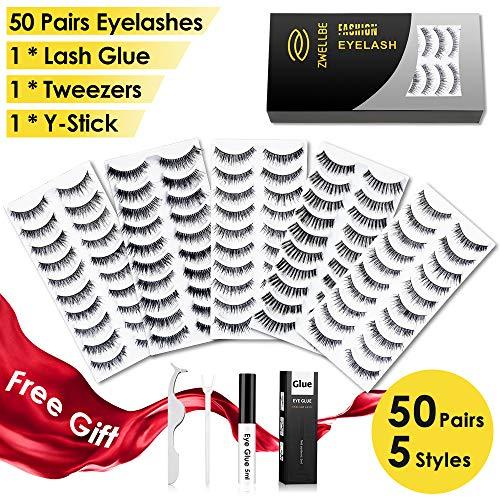 50 Pairs False Eyelashes Set with Glue 5 Styles Lashes Handmade False Eyelashes Pack Professional Fake Eyelashes Pack, 10 Pairs Eyes Lashes Each Style, Natural Soft mink lashes with EyeLash Tweezers