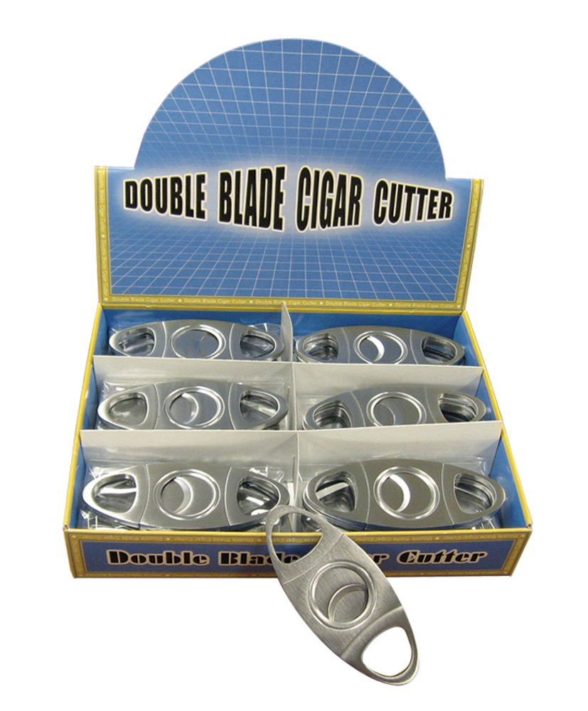Prestige Import Group Silver Metal Cigar Cutter Display Box of 24 - Double Blade