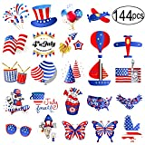Fourth of July Tattoos 144 Pcs Patriotic Independence Day Party Accessories for Kids