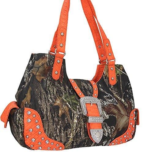"""mossy Oak"" Camouflage Print With Studs Handbag-orange(am2-1)"