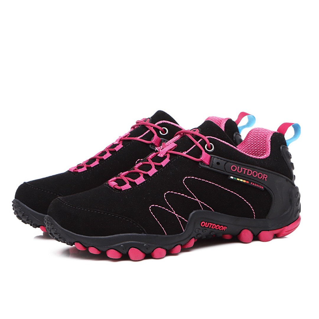 Hiking Waterproof Hiking Shoes Professional Breathable Outdoor Sports Shoes Camping Travel Women Black Red 5