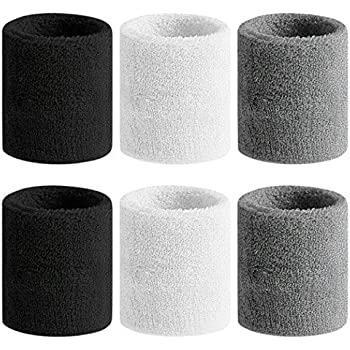Beace Sweatband Sports Wristband for Men and Women, Moisture Wicking Athletic Cotton Terry Cloth Sweatband for Tennis, Running, Gym, Working Out, 6pcs, Black White Gray