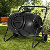 Large Capacity, Sturdy Construction, 50 Gallon Wheeled Compost Tumbler Garden and Kitchen Waste Bin, Give Your Plants The Nutrient-Dense Fertilizer They Crave