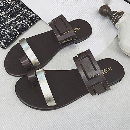 Hueco Plano Café Zapatos del Clip Bohemia Flops Mujeres Sandalias Dedo Voltear Sandalias nbsp;Sexy 2018 Mujer pie Verano Verano QUICKLYLY Sandalias Casual Moda 0wqg8x