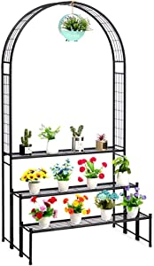 DOEWORKS 3 Tier Plant Stand with Garden Arch, Flower Pot Holder Display Shelf, Garden Arbor for Climbing Plants, Black