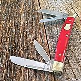 "BOKER PLUS 3 5/8"" RED Handles 4 Blade Congress Folding Pocket Knife NEW BO214R"