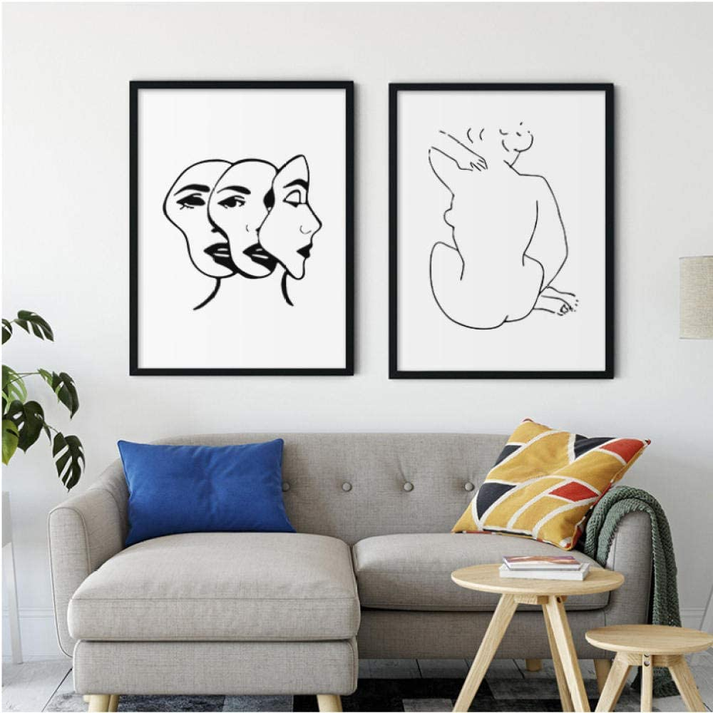 AmilArt Línea Abstracta Cuerpo Cara Pared Arte Lienzo Pintura nórdica Minimalista Carteles e Impresiones Cuadros de Pared para Sala de Estar decoración del hogar 40x50 cm x 2