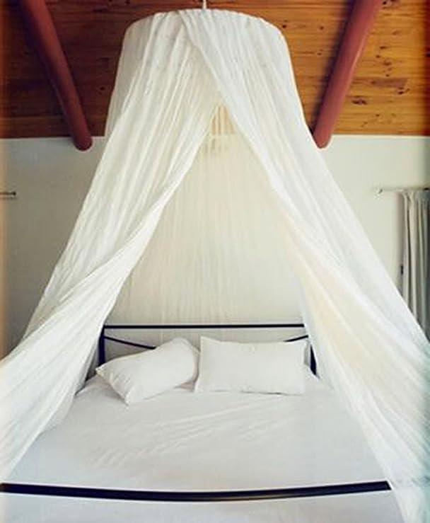Amazon.com: Dreamma Elegant White Round Bed Canopy Mosquito Net: Kitchen &  Dining