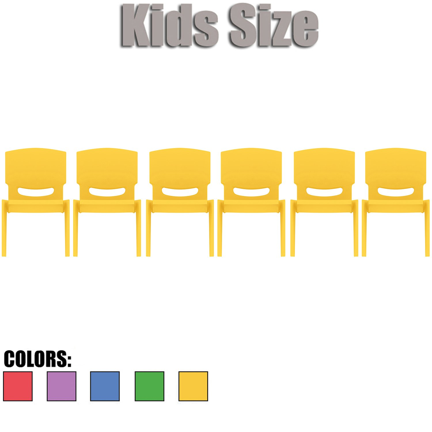 2xhome - Set of Six (6) - Yellow - Kids Size Plastic Side Chair 10'' Seat Height Yellow Childs Chair Childrens Room School Chairs No Arm Arms Armless Molded Plastic Seat Stackable
