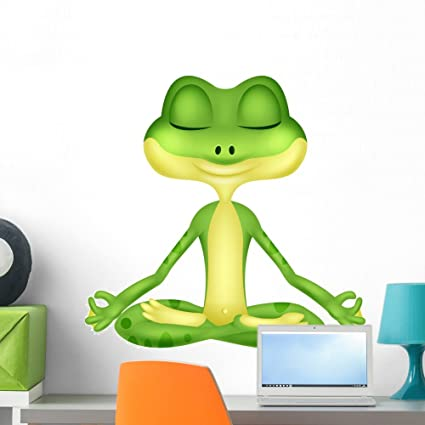 Amazon.com: Wallmonkeys Frog Cartoon Doing Yoga Wall Decal ...