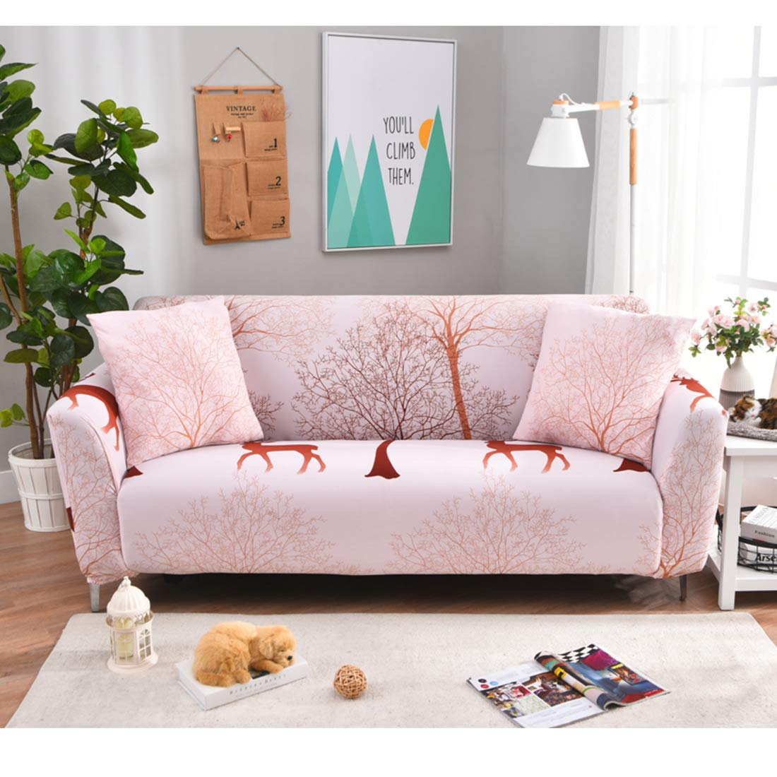 Royhom Sofa Cover, Loveseat Cover, Chair Cover, Elasticity Furniture Protector, Patchwork Cover, Stain Resistant, Machine Washable/Pink, Sofa Cover