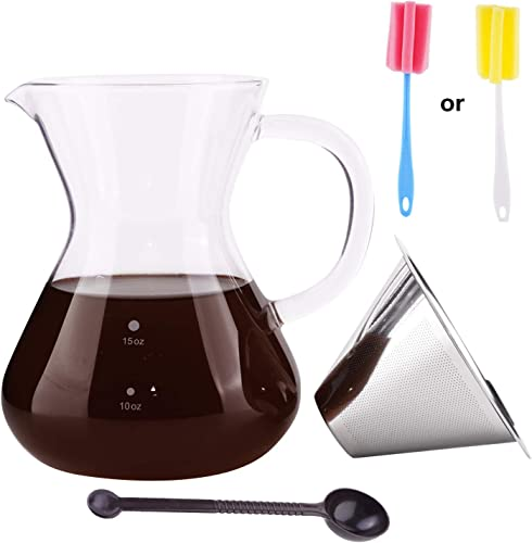 Pour Over Coffee Maker Kit Set Pour Over Dripper Cone Includes Glass Carafe Server Pot Stainless Steel Dripper Filter