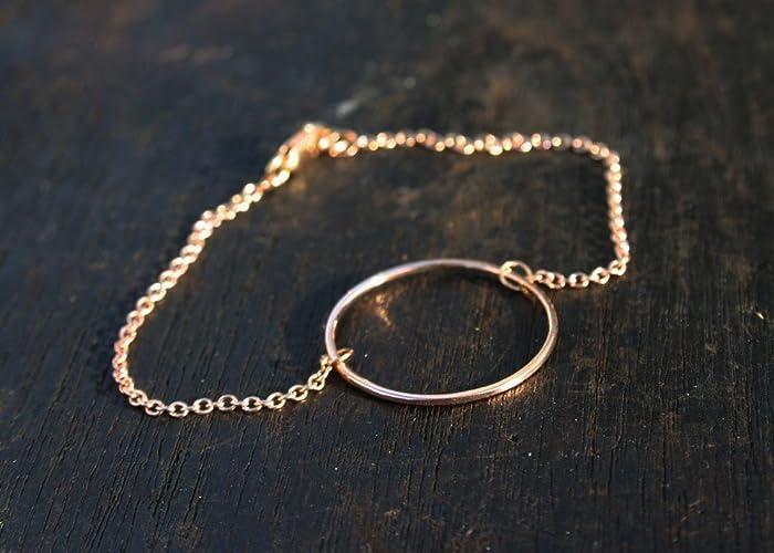 Amazoncom Solid rose gold bracelet 14k rose gold link chain