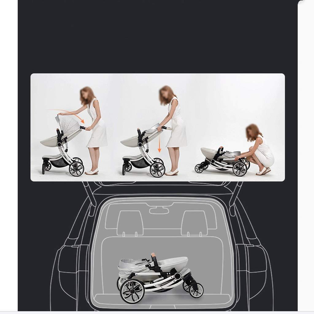 LQW HOME-kombikinderwagen Kinderwagen-Bett Doppelt verwendbar kann Sich hinsetzen Falten und hohe Landschaft Zwei-Wege einfach mit Einer Hand zu Falten Color : Black, Gr/ö/ße : 22 * 13 * 8 inches