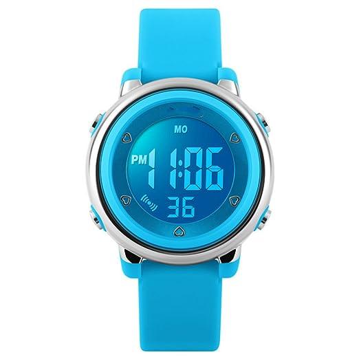Reloj digital LED para niños, deportivo digital, para niñas, a la moda, con dibujos animados y jalea, resistente al agua, color azul cielo: Amazon.es: ...