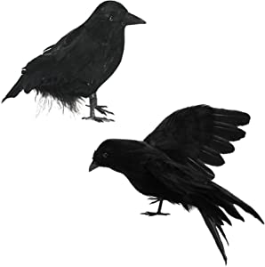 DALJIAFA Halloween Realistic Crows Christmas Feathered Crows Decorations Artificial Fake Black Ravens Handmade Outdoor Indoor Party Props Cute Fly and Stand Life-Like Crow Birds Decoration 2 Pack