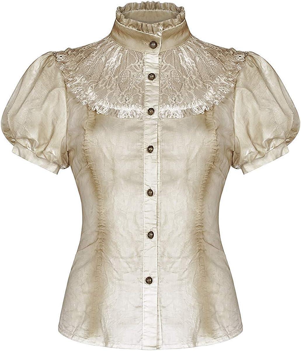 Punk Rave Mujer Steampunk Blusa Top Blanco Roto Encaje Vintage Gótico Victoriano Camisa: Amazon.es: Ropa y accesorios
