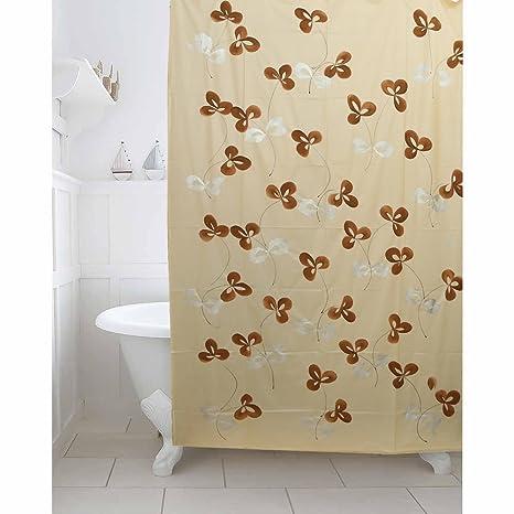 Kuber Industries Cream Floral Design PVC Premium Shower Curtain