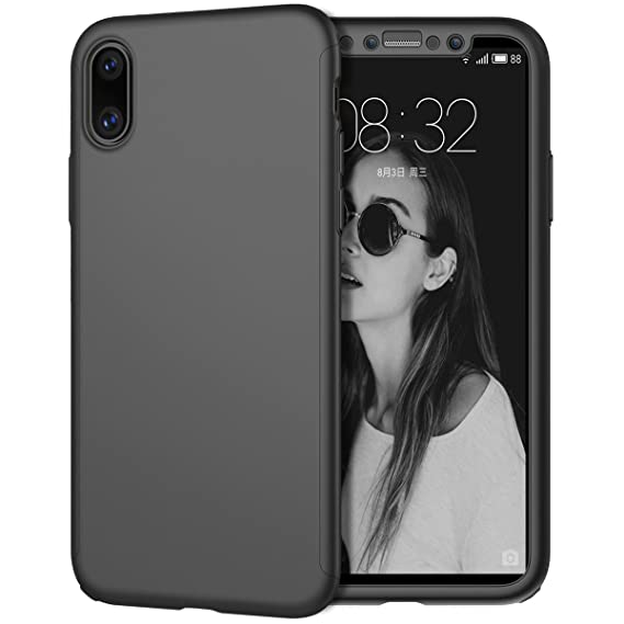 buy online 334be 4d011 iPhone X Case, Coocolor [Perfect Fit] 360 Degree All-around Ultra Thin Full  Body Coverage Protection Dual Layer Hard Slim Case + Tempered Glass Screen  ...