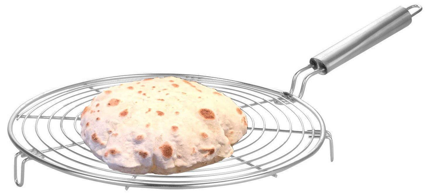 Big Stainless Steel Roasting Net,Stainless Steel Wire Roaster,Roaster,Cooking Rack for Chiken Grill,Roti Grill,Papad Grill,Color Silver