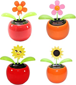 EASY4BUY Set of 4 Dancing Flowers Daisy in Red Pot Solar Toy Flowers Car Dashboard Office Desk Home Décor