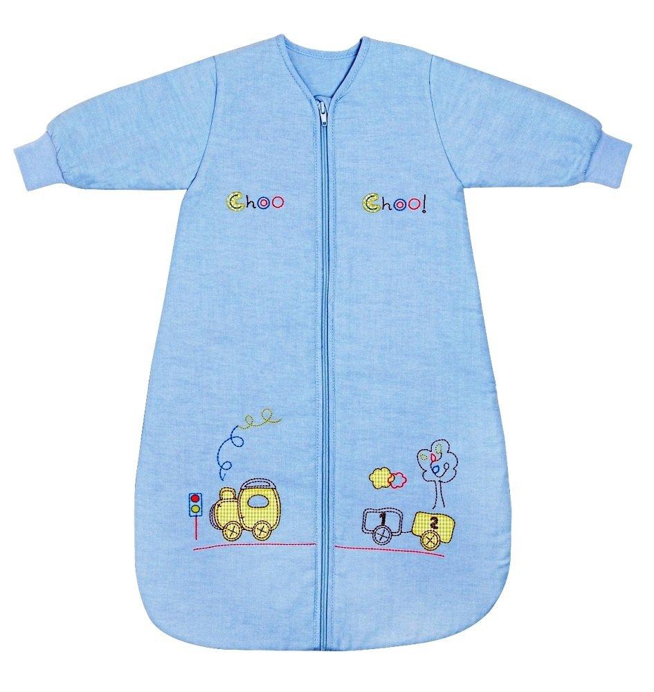 Slumbersac - Saco de dormir para niños (invierno, manga larga, 3,5 tog, 150 cm, 6-10 años), diseño de tren